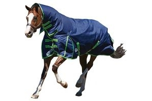 Weatherbeeta Comfitec Plus Dynamic Combo Neck Heavy - Navy/Lime - Size: 6'0