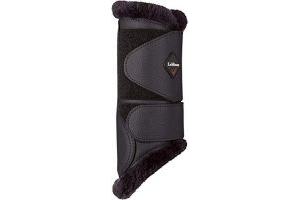 LeMieux Fleece Brushing Boots - Black/Black Fleece, Large