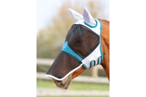 Shires Fine Mesh Fly Mask With Ears & Nose White: Pony