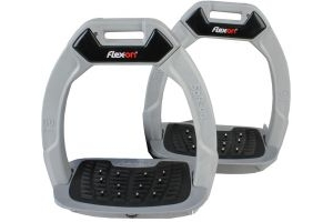 Flex-On Adults Safe-On Inclined Ultra Grip Stirrups Light Grey/Grey/Red
