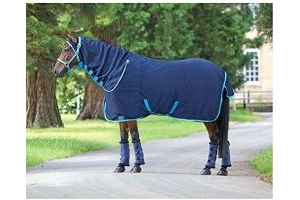 Shires Tempest Original Jersey Combo Cooler Rug 5ft Navy Bright Blue