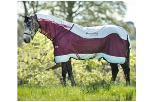 Horseware Rambo Summer Series 0g Lightweight Detach-A-Neck Turnout Rug Grey/Burgundy