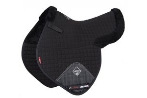 LeMieux Unisex's Merino Plus Half Lined Numnah Lambskin Close Contact Saddle Pad, Black, Large
