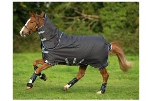 Horseware Amigo Bravo 12 Plus 250g Medium Weight Detach-A-Neck Turnout Rug Excalibur/Blue/Black