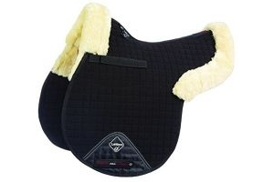 LeMieux Lambskin GP/Jumping Numnah (Half Lined) - Natural Wool/Black Fabric, Medium