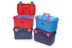 Shires Two Tone Tack Box-Red/Blue One Size