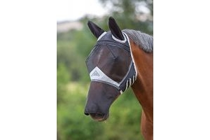 Shires Fine Mesh Fly Mask With Ears and Nose in Black, UV Protection Xsmall Ponyy, Black