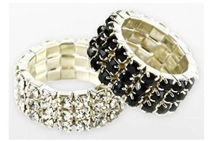LINCOLN DIAMANTE PLAITING BANDS IN BLACK AND SILVER 20 PER BAG (SILVER)