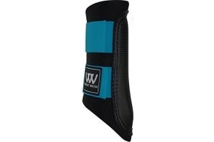 WOOF WEAR CLUB BRUSHING BOOT IN BLACK/TURQUOISE - BRAND NEW COLOUR FOR 2015 - HORSE PONY EQUINE (X LARGE)