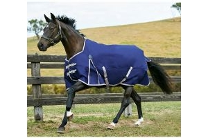WeatherBeeta ComFiTec Essential 50g Lightweight Standard Neck Turnout Rug Navy/Silver/Red
