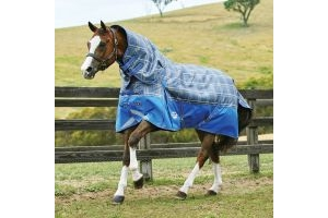 WeatherBeeta ComFiTec Premier Trio 100g & 200g Medium Weight Detach-A-Neck Turnout Rug Grey Plaid