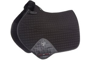 LeMieux Lambskin Close Contact Jumping Square (Half Lined) - Black Wool/Black Fabric, Large