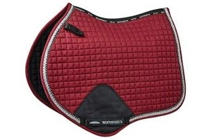 Weatherbeeta Prime Bling Jump Saddle Pad - Maroon: Pony