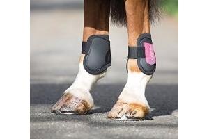 Shires ARMA Fetlock Boots - Pony/Cob-Black/Pink Pony/Cob