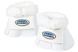 Weatherbeeta Fleece Trim Impact Bell Boots White Cob