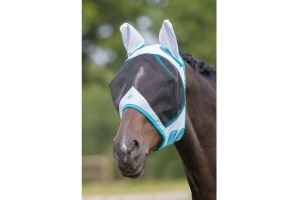 Bridleway Fly Mask With Ears White & Blue: Small Pony