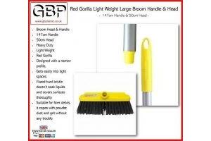 Red Gorilla Light Weight Large Broom Handle & Head - 147cm Handle 50cm Head
