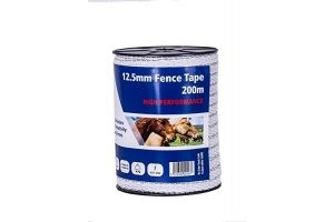 Fenceman High Performance Electric Fence White Tape 12.5mm x 200m