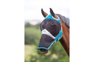 Shires Fine Mesh Fly Mask with Ear Holes & Nose - Teal Cob