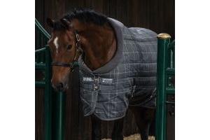 Horseware Rhino Original 250g Medium Weight Standard Neck Stable Rug Charcoal Grey/White Check/Charcoal