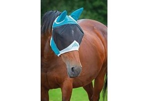 Shires Fine Mesh Fly Mask With Ears - Teal (Pony)