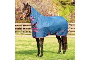 Saxon 600D 200g Medium Weight Combo Neck Turnout Rug Dark Blue/Claret