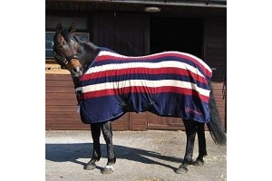 John Whitaker Holywell Striped Fleece Rug 6ft9 Navy Burgundy Beige