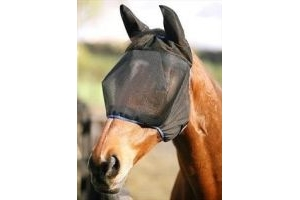 Equilibrium Field Relief Midi Fly Mask with Ears-Black with Blue Extra Large Horse (17hh +) by Equilibrium Products
