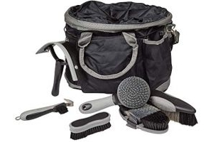 Roma Deluxe 6-Piece Grooming Bag: Black/Silver
