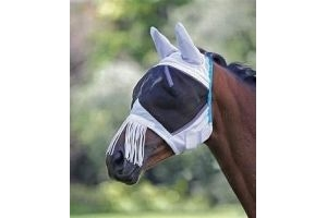 Shires Fine Mesh Fly Mask With Ears and Nose Fringe - Teal: Pony