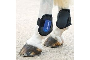 Shires Arma Fetlock Boots - Black/Royal Blue: Pony/Cob