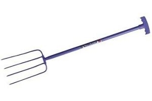 Red Gorilla Tubular Manure Fork 4 Prong T-grip Purple - Faulks Grip Co
