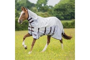 Shires Performance Maxi Flow Waterproof Fly Rug-White - Orange/Navy 5'3