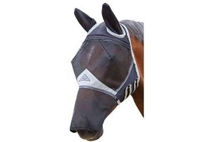 Fine Mesh Fly Mask With Ears and Nose, Black, X Full Size, Shires Equestrian