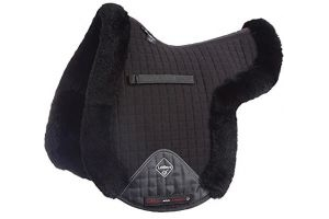 LeMieux Lambskin GP/Jumping Numnah (Fully Lined) - Black Wool/Black Fabric, Large