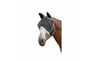 Shires Fine Mesh Fly Mask With Ears and Nose Fringe - Black (Full)