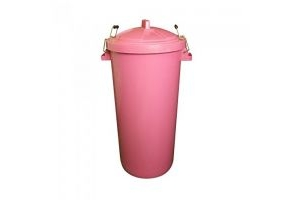 Trilanco Unisex's Prostable Dustbin with Locking Lid 85 Liter, Pink, Regular