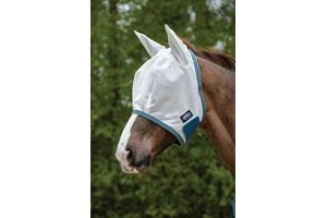 Weatherbeeta Comfitec Airflow Fly Mask White Sea Green - Lightweight UV Sun Protection and SPF Properties