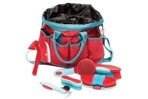 Roma Deluxe 6-Piece Grooming Bag: Watermellon/Bright Blue