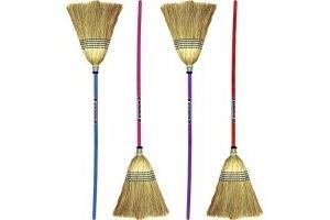 Faulk's Standard Coloured Handle Corn Broom : Blue