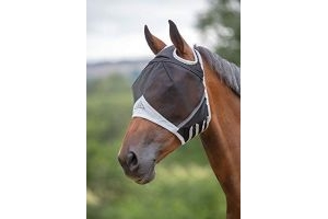 Shires Fine Mesh Fly Mask with Ear Holes in Black, 5 Sizes UV Protection. (Pony, Black)