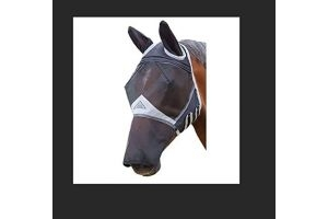 Shires Fine Mesh Fly Mask with Ears & Nose in Black, 5 Sizes, UV Protection (X.Full, Black)