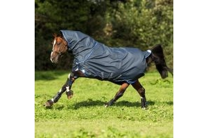 Horseware Amigo Bravo 12 Plus 0g Lightweight Detach-A-Neck Turnout Rug Navy Blue Silver