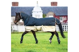 Horseware Mio All-In-One 350g Heavyweight Combo Neck Turnout Rug Navy/Tan