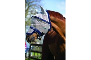 Horseware Rambo Plus VAMOOSE Fly Mask Size Horse Accessories VB, silver/navy