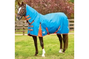 WeatherBeeta ComFiTec Classic 220g Medium Weight Combo Neck Turnout Rug Blue/Flame