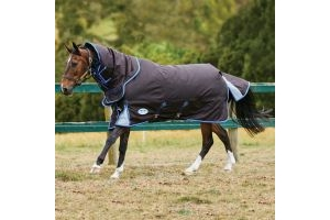 WeatherBeeta ComFiTec Ultra Cozi 220g Medium Weight Detach-A-Neck Turnout Rug Charcoal/Blue/White