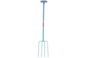 Red Gorilla Tubular T-Grip 4 Prong Manure Fork Sky Blue