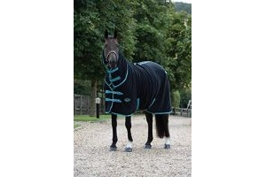 Weatherbeeta Fleece Cooler Combo Neck Rug - Black/Turquoise: 6ft9