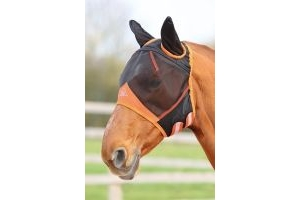 Shires Fine Mesh Fly Mask With Ears Black: Pony